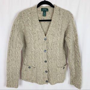 Lauren Ralph Lauren 100% Wool Cardigan Sweater